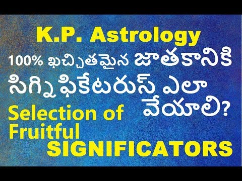 KP Astrology in telugu | how to find out and selection of fruitful  significators