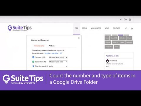 Count the number and type of items in a Google Drive folder | G