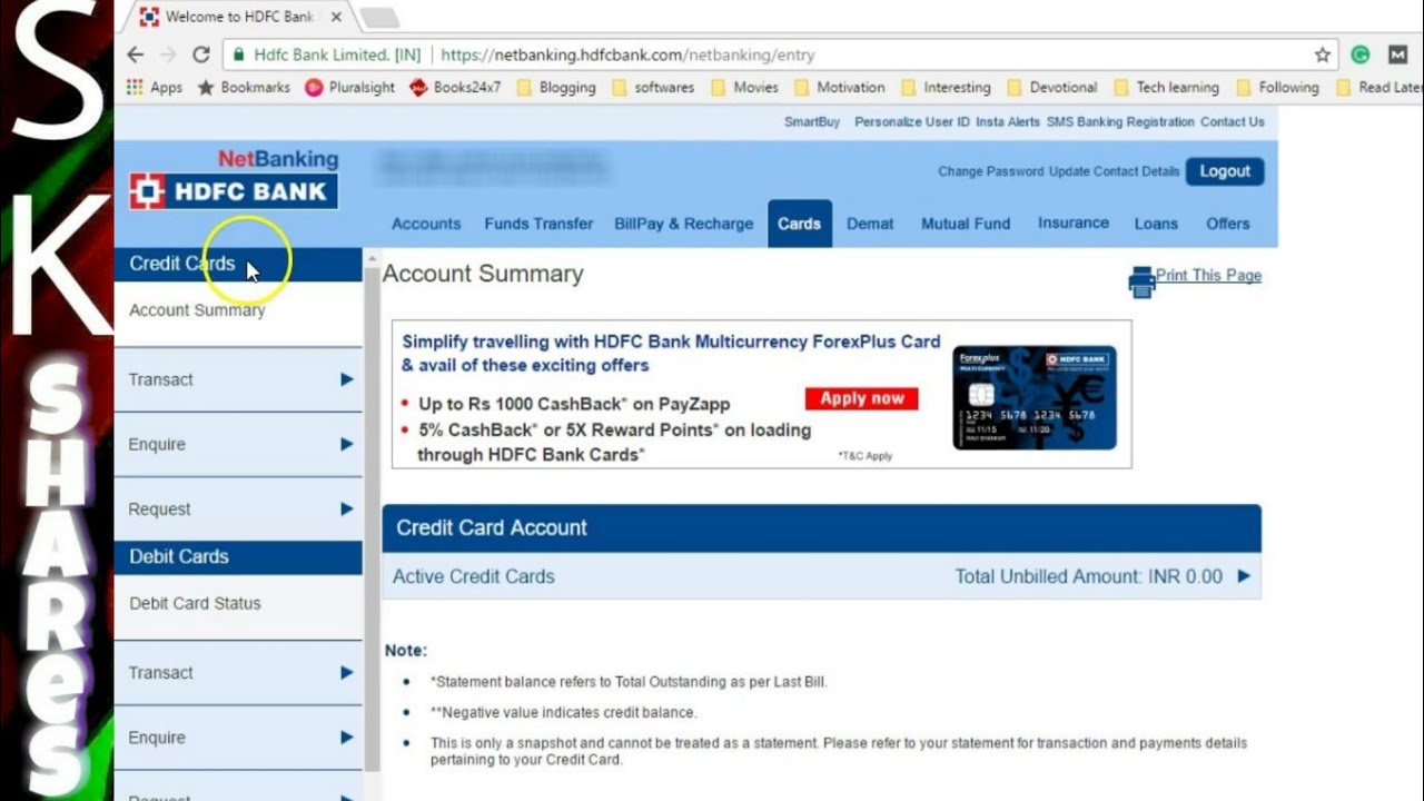 How to View or Download Credit Card statement - HDFC Netbanking