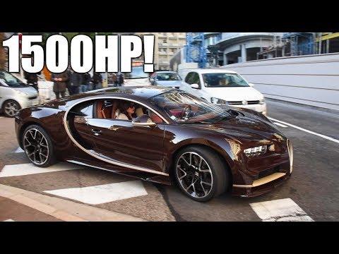 Brown Carbon Gold Bugatti Chiron Huge Start Up Driving Around In