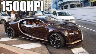 BROWN CARBON & GOLD Bugatti Chiron HUGE Start-Up & Driving around in MONACO!
