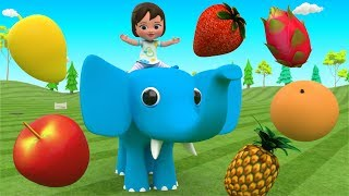 Little Baby Girl Learning Fruits Names for Children with Elephant Fun Play Fruits Truck 3D Kids Edu