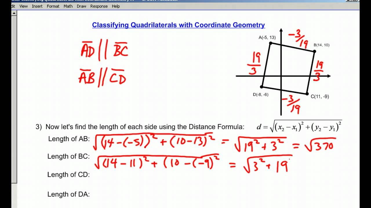 Worksheets Coordinate Geometry Distance Formula Worksheet classifying quadrilaterals with coordinate geometry youtube
