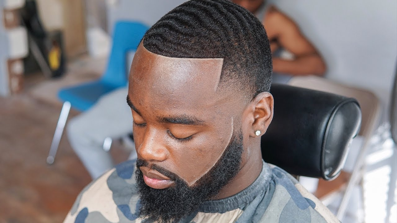 high taper with waves haircut
