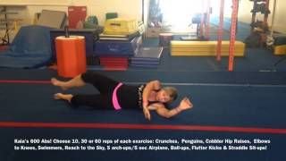 Kaia's 600 Abs! Choose 10, 30 or 60 reps of each exercise: Crunches...