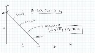 Utility function when goods are perfect substitutes