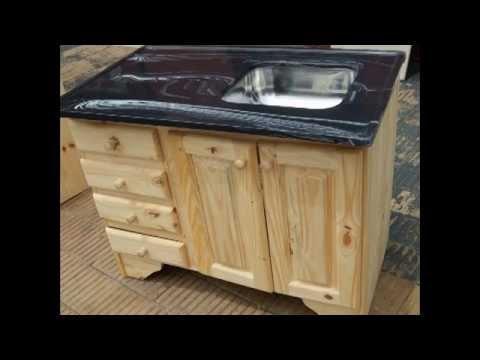 Bajo mesada de cocina de pino youtube for Como hacer una cocina de madera