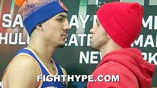 TEOFIMO LOPEZ FLEXES ON MASON MENARD AFTER TENSE FACE OFF; STARES HIM DOWN WITH ICE GRILL