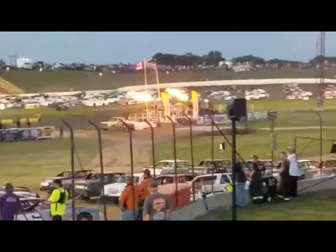 Saturday night racing at I-94 Speedway, Fergus Falls, Minnesota. Roughly 190 cars were on the track for the Parade of Champions. It consists of all the cars that ... - dirt track racing video image