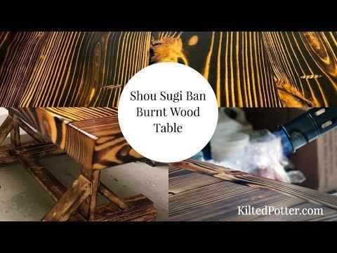 Shou Sugi Ban Charred Pine Wood Table [Burnt Wood Finish]