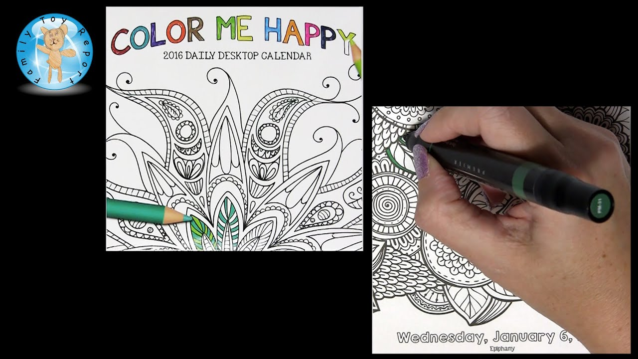 Color Me Happy 2016 Daily Desktop Calendar January 6 Adult Coloring Book Style