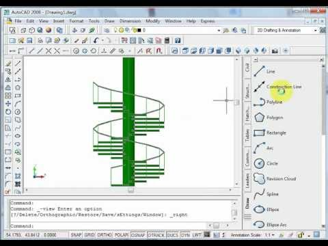spiral stairs autocad escalier en forme spirale youtube. Black Bedroom Furniture Sets. Home Design Ideas