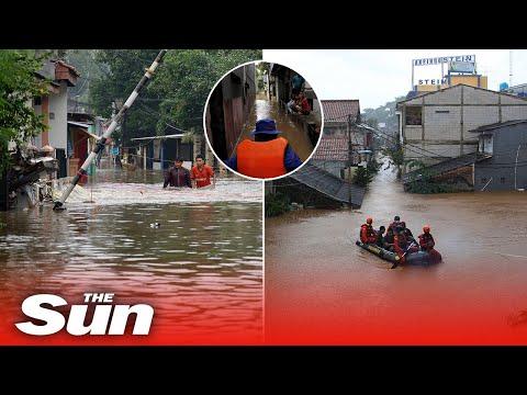 Floods hit Jakarta after heavy rain in the capital