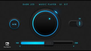 Create a Dark audio UI kit elements music player in Photoshop