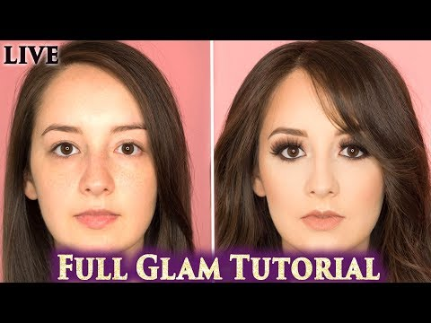 Full Glam Makeover Contour and Extensions. Dark Smokey Eyes, Nude Lips, Makeup Tutorial