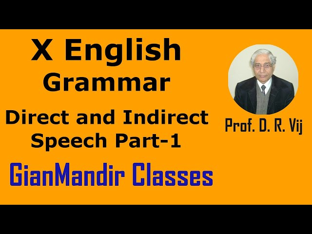 X English | Grammar | Direct and Indirect Speech Part-1 by Nandini Ma'am