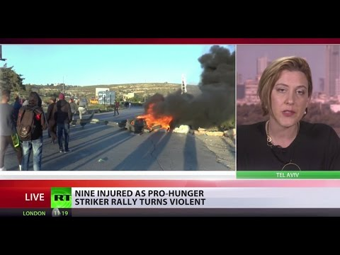Stones Throwing: Palestinian rally in support of hunger striking prisoners descends into violence
