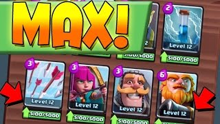 Clash Royale MAXING OUT MY CARDS & Testing New Deck - Level 13 Card Gameplay