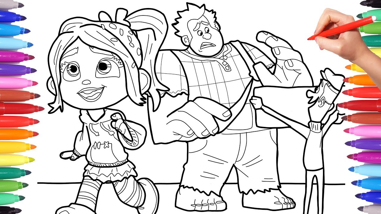 ralph breaks the internet coloring pages for kids wreck