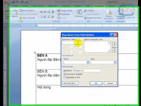 Sử dụng điều khiển Form trong Word và làm văn bản mẫu trên Word 2007