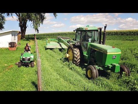Cutting Hay - John Deere 4640 & 735 MoCo