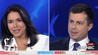 Rep. Tulsi Gabbard asks Mayor Pete Buttigieg if he claimed he'd send troops to Mexico as president