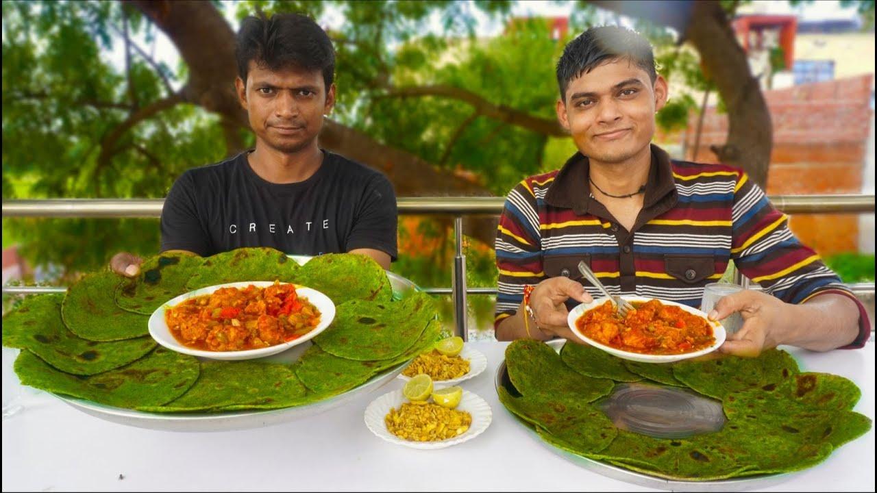 Potato Manchurian With Green Paratha Thali Eating Challenge | Manchurian Paratha Thali Challenge