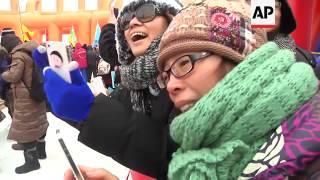 Swimming in sub zero temperatures at the Harbin Ice Festival
