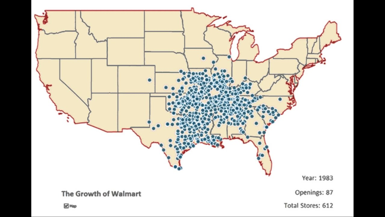The Spread Of Walmarts Across The Us 1962 2006 Youtube - Map-of-walmart-stores-in-us