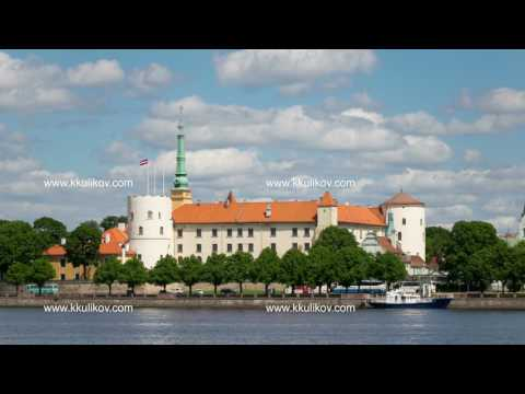 view of the Riga Castle - the residence of President of Latvia Old Town, Riga, Latvia time-lapse