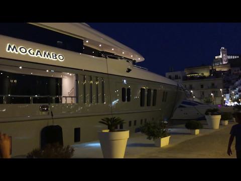 Mega Yacht MOGAMBO docked at the port of Ibiza