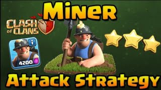 Clash of clans | hill miner! Town hole 12th ⭐⭐⭐ 3 star miner attek strategy -coc