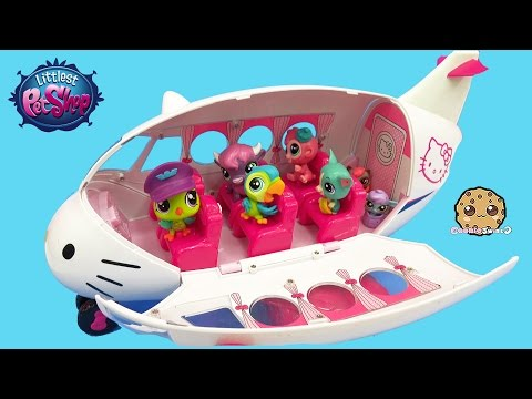 Littlest Pet Shop Pets + LPS Surprise Blind Bag On Hello Kitty Airplane - Cookieswirlc