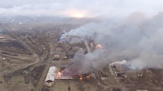 Пожежа на складі в Балаклії  Відео з безпілотника (4K)