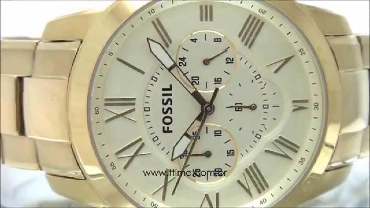 fb1bd6aae5ad4 Relógio Fossil Grant Dourado FFS4814Z - YouTube