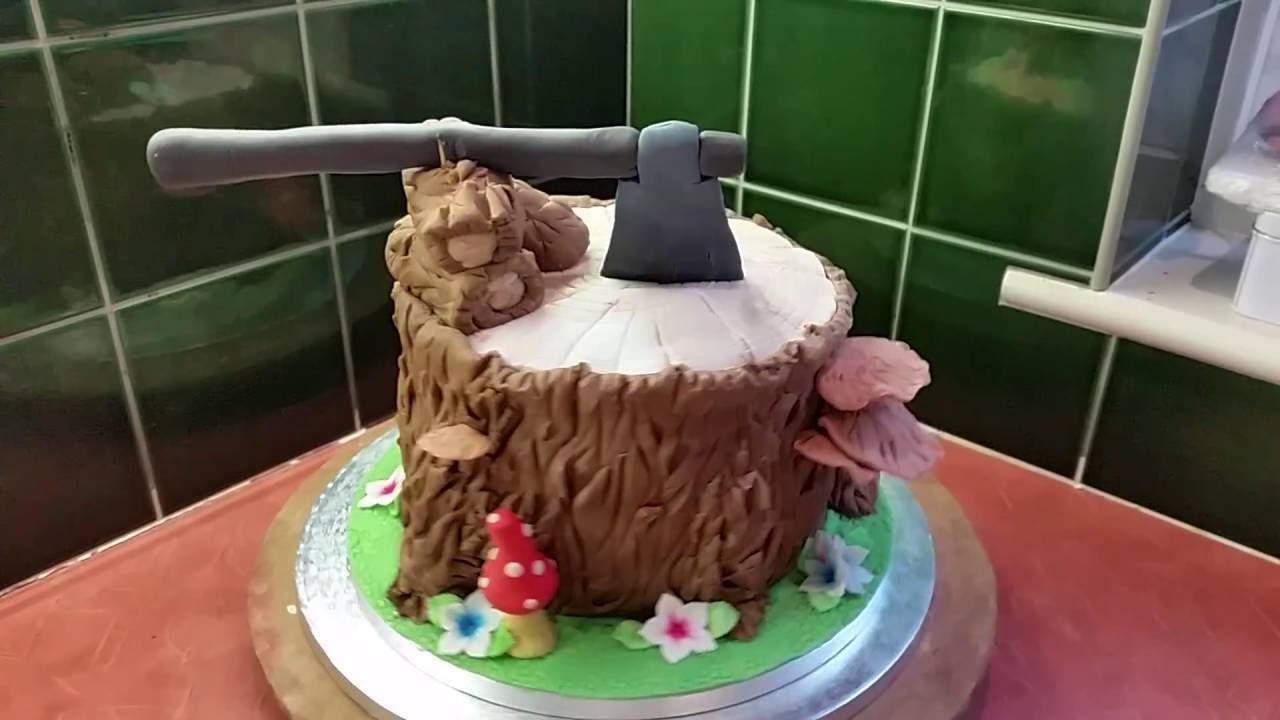 Tree Stump Wedding Cake - YouTube