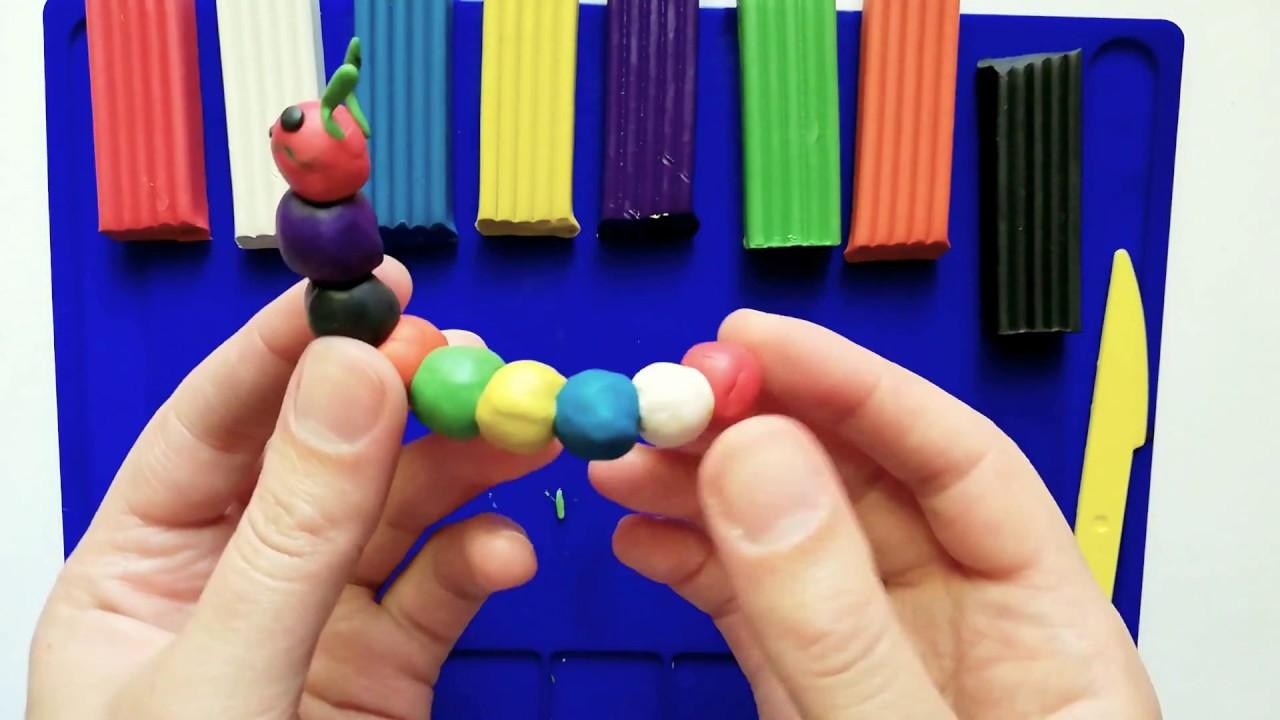 როგორ გამოვძერწოთ პატარა ფერადი მუხლუხო. ვისწავლოთ ფერები. სახალისო ვიდეო ბავშვებისათვის.