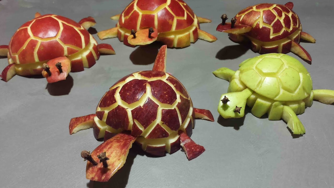 Tortue en pomme apple turtle manzana tortuga youtube for Decoration fruit
