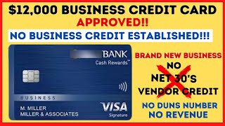 $12,000 BUSINESS CREDIT CARD APPROVAL WITH NO BUSINESS CREDIT ESTABLISHED! NO D&B AND NO REVENUE!