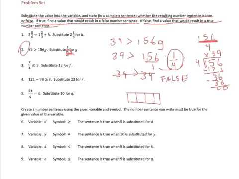 True and False Number Sentences (solutions, examples