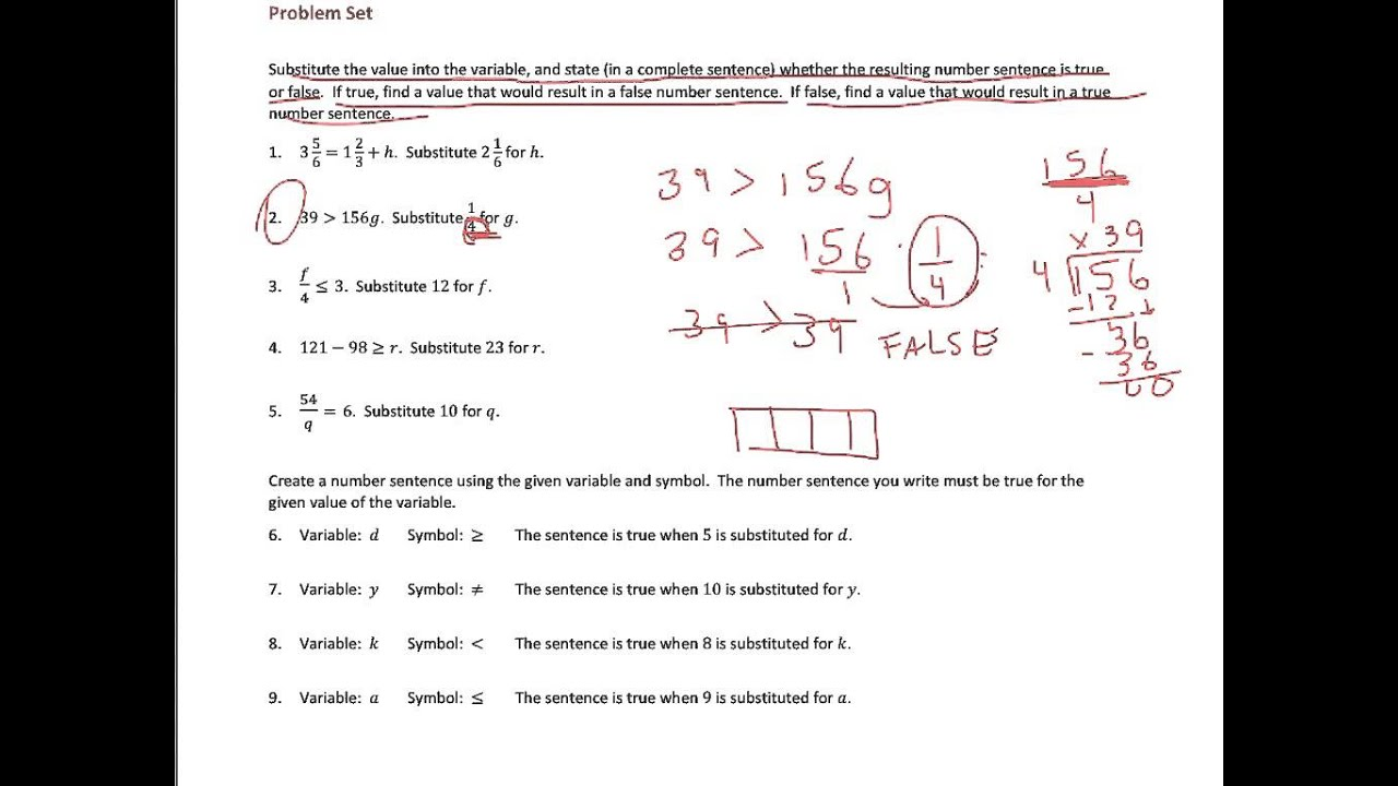hight resolution of True and False Number Sentences (solutions