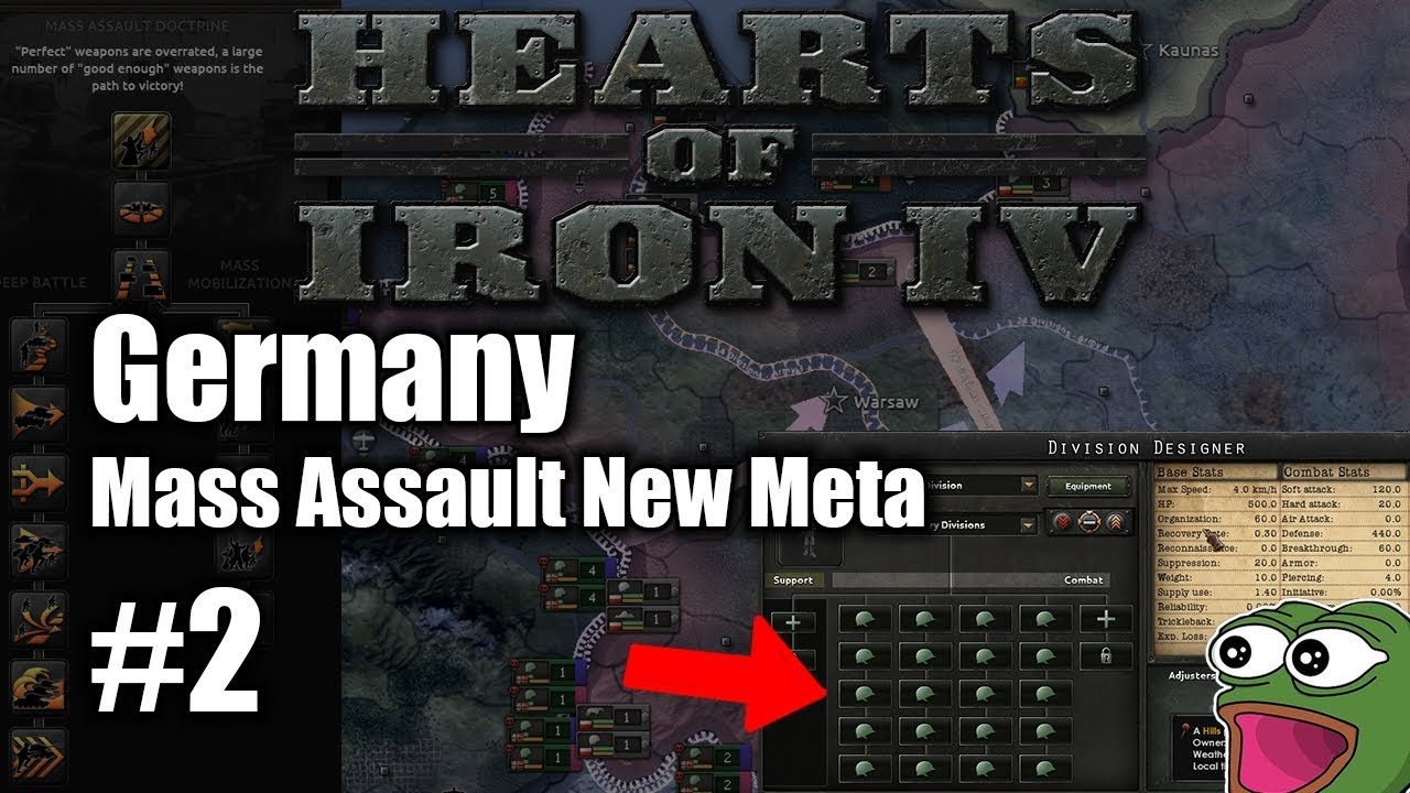 Hoi4 Germany Ep 002 - Mass Assault New Meta! Hearts of Iron!