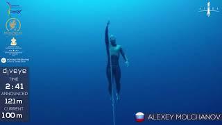 Freedive to 121m, Alexey Molchanov, AIDA WC 2017