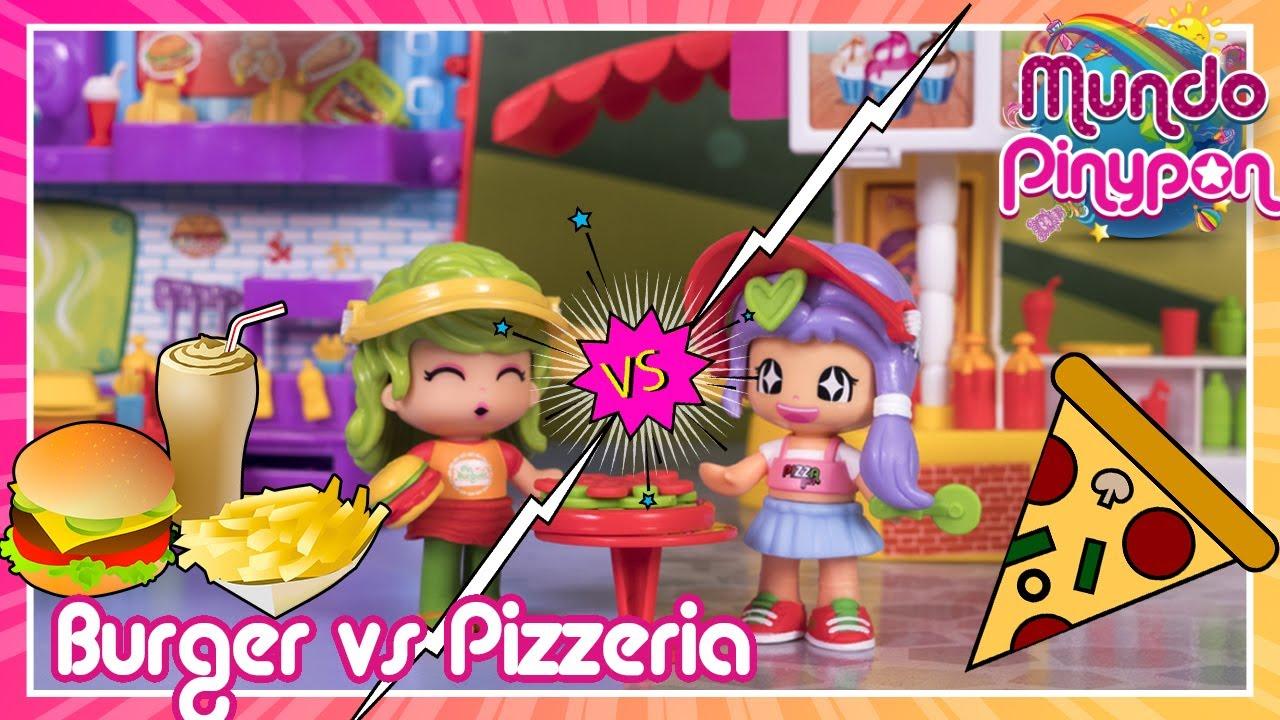 PIZZERIA vs. BURGUER dans le Monde Pinypon 🍕🍔 Qui gagnera, les pizzas ou les hamburgers ?