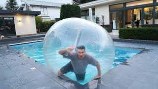 TRAPPED INSIDE A GIANT BUBBLE BALL OVERNIGHT PRANK!!