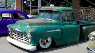 Bagged 1956 Chevy Truck   Ratrod Patina Wide White Walls