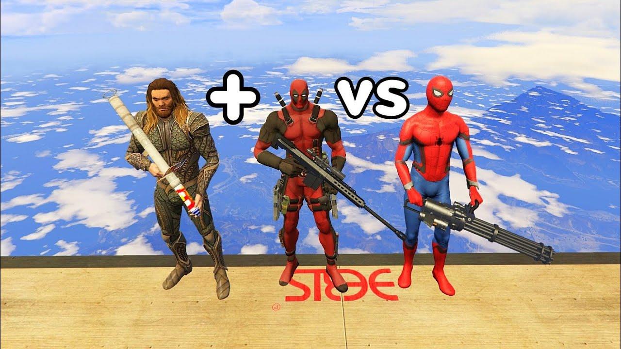 GTA 5 Crazy Ragdolls Deadpool & Aquaman VS Spiderman  vol.1 Funny (Euphoria Physics   Funny Moments)