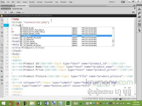 PHP Insert update delete data and image in MySQL Part 2 - khmer teaching by Ho Mony - krumony.com