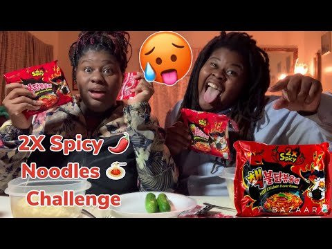 Samyang 2X Spicy 🥵 Noodle 🍜 Challenge 👊 With My Twin!! Crazy 😜 funny 😄! thumbnail