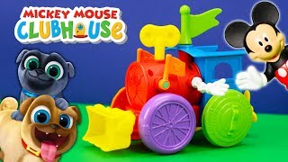 MICKEY MOUSE CLUBHOUSE Disney Train Wind UP Toy With the ROadsetr Racers and Puppy Dog Pals